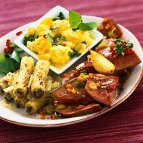 receta gatimi per pergaditjen e makaronav me kungull, speca të kuq dhe proshutë e tymosur