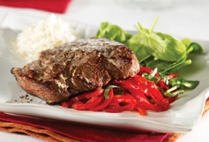 Steak with red pepper